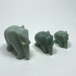Hand Carved Genuine Jadeite Jade Elephant Family